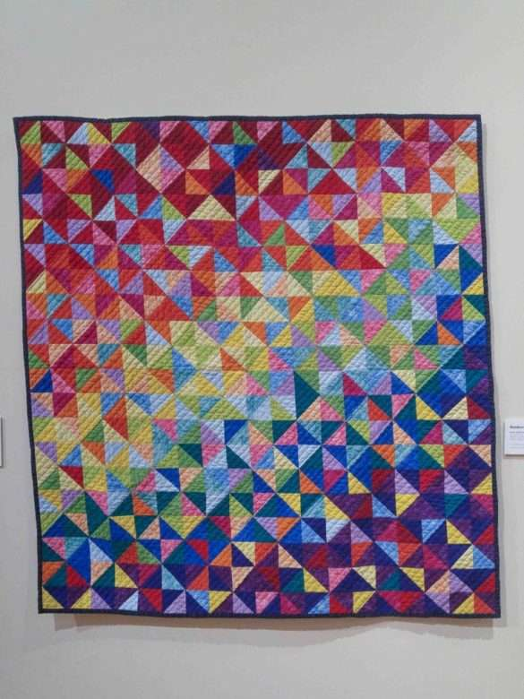 rainbow quilt, triangle rectangle patchwork