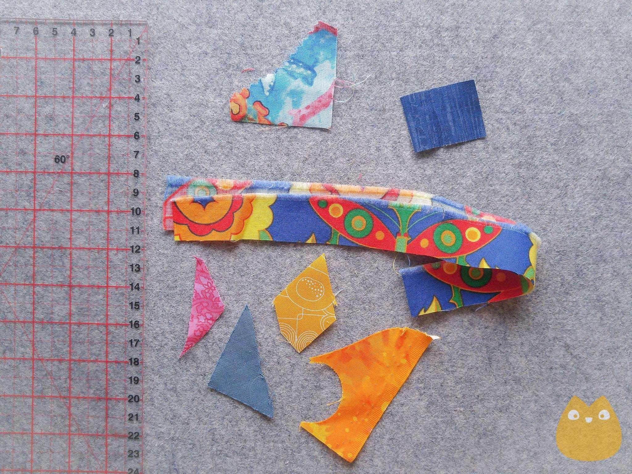Chutes de tissus de 1 à 3/4 cm