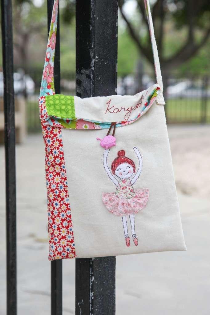 sac cabas avec appliqué ballerine en chutes de tissus