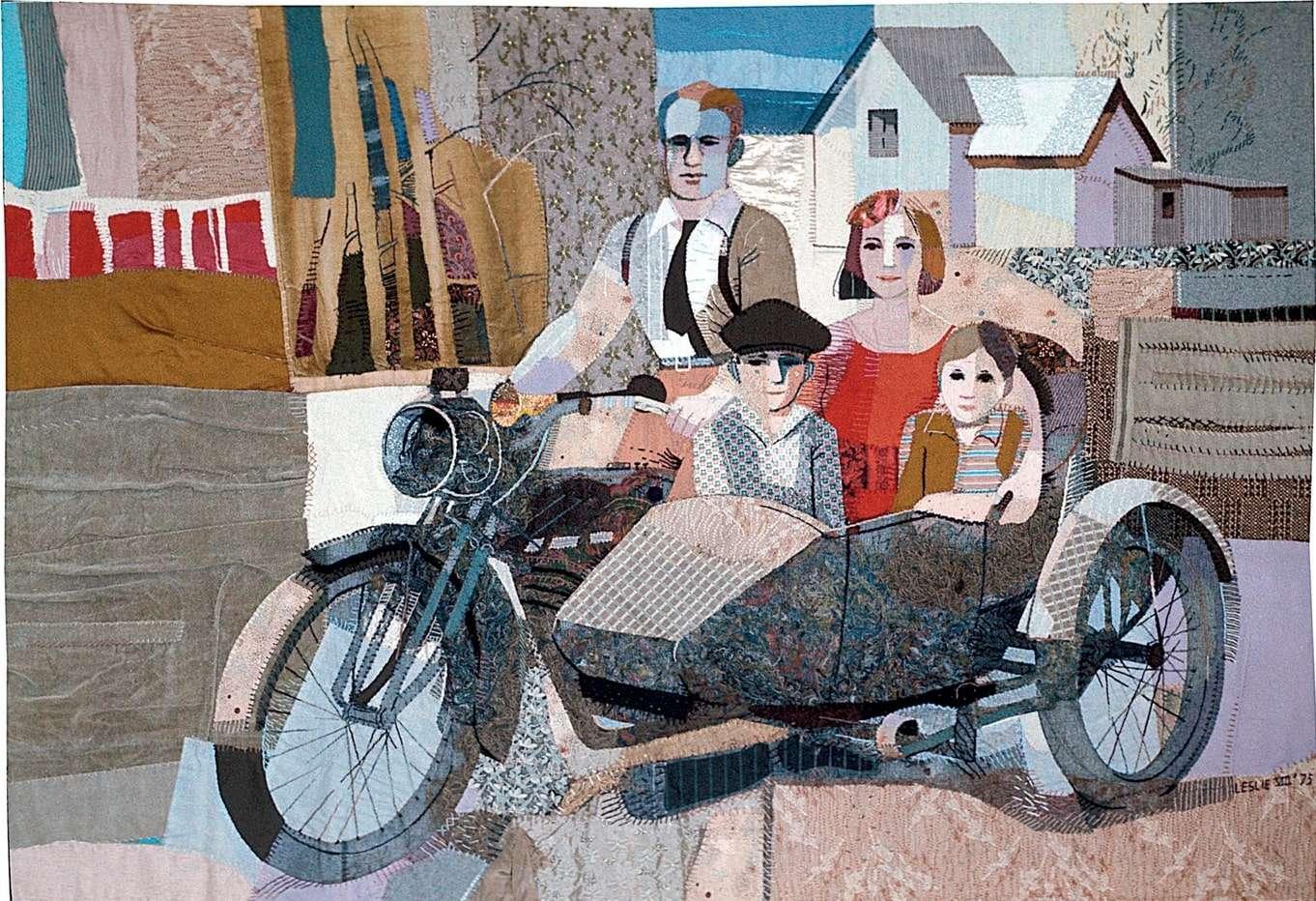 Art quilt, oeuvre d'art en tissu, moto en tissu
