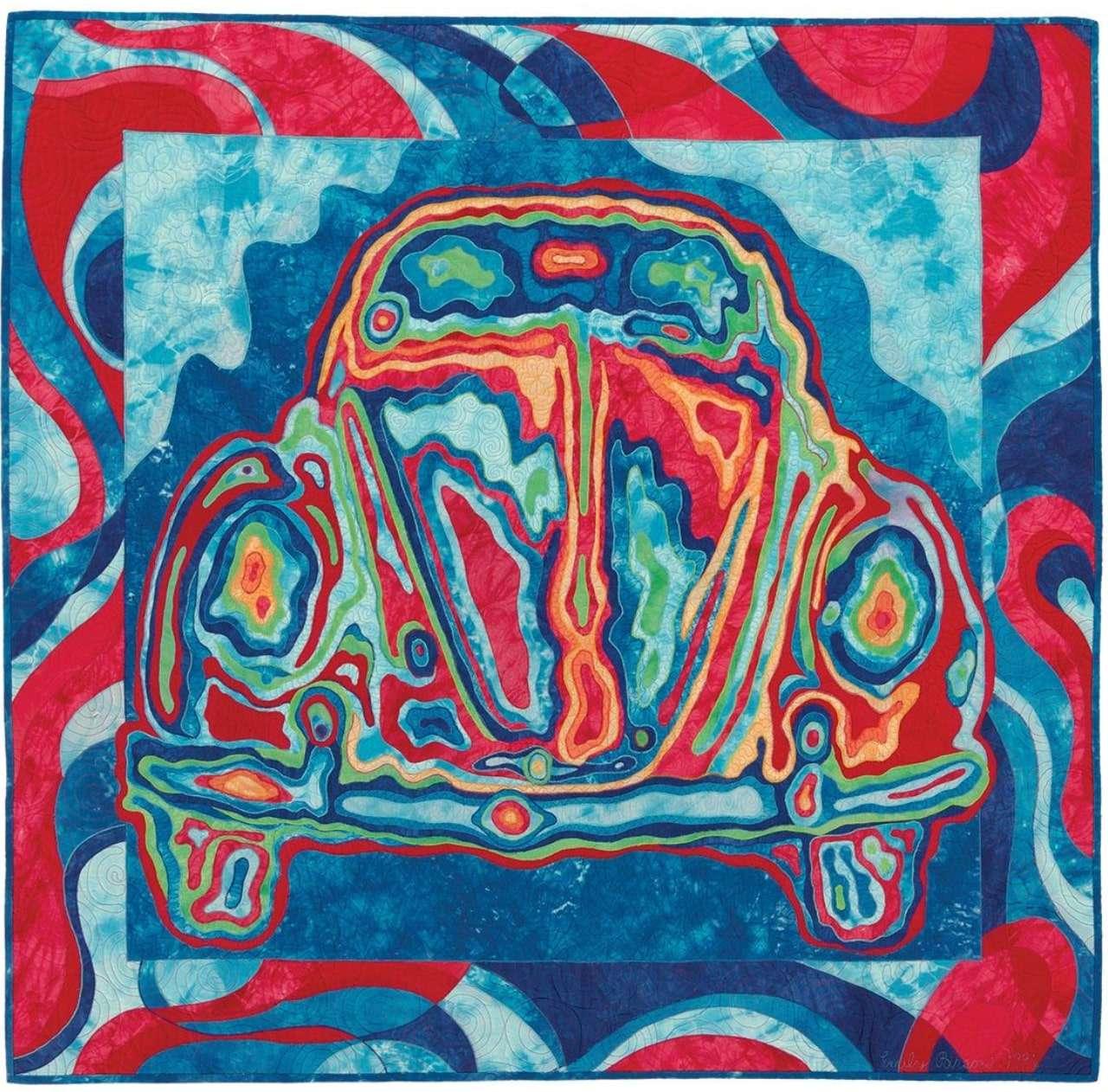 Art quilt, oeuvre d'art en tissu, voiture en tissu