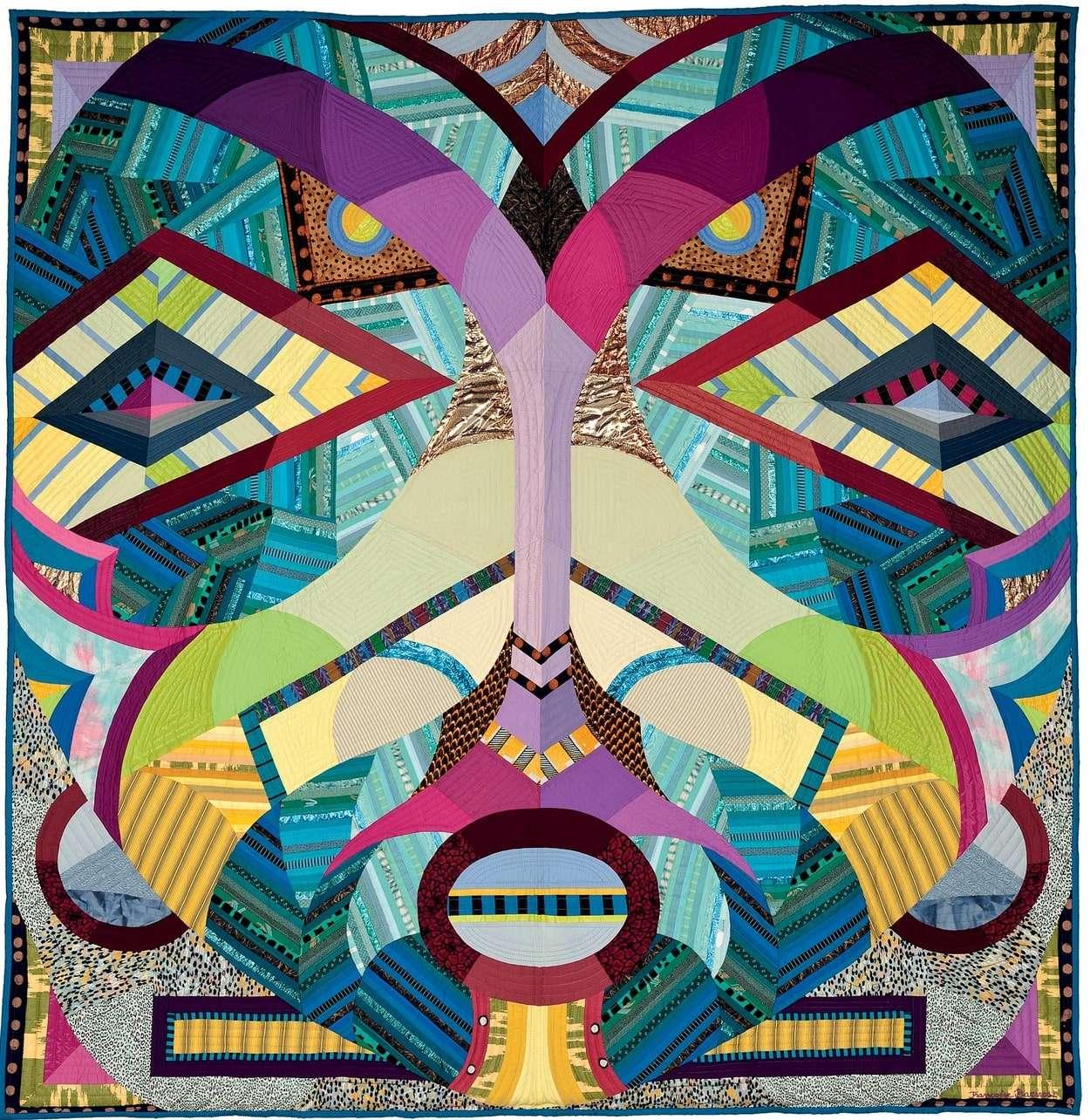 Art quilt, oeuvre d'art en tissu, masque africain