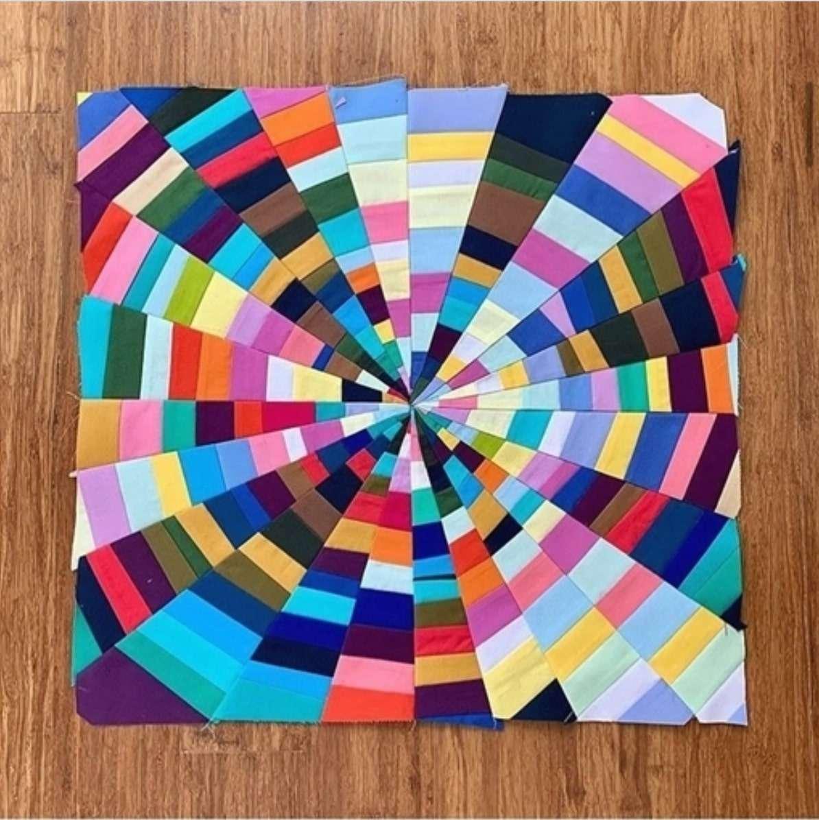 Art quilt, oeuvre d'art en tissu, multicolore, chutes de tissus